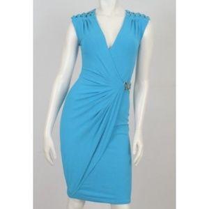 Cache Blue Faux Wrap Dress Chain Buckle Detail